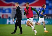 8 October 2020; Callum Robinson of Republic of Ireland, right, and Republic of Ireland coach Damien Duff ahead of the UEFA EURO2020 Qualifying Play-Off Semi-Final match between Slovakia and Republic of Ireland at Tehelné pole in Bratislava, Slovakia. Photo by Stephen McCarthy/Sportsfile