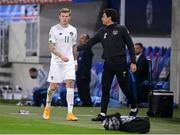 8 October 2020; James McClean of Republic of Ireland is greeted by Republic of Ireland coach Keith Andrews as he leaves the pitch during the UEFA EURO2020 Qualifying Play-Off Semi-Final match between Slovakia and Republic of Ireland at Tehelné pole in Bratislava, Slovakia. Photo by Stephen McCarthy/Sportsfile