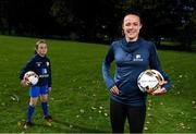 15 October 2020; Aviva Ireland and the FAI have launched a new virtual Aviva Soccer Sisters programme specially designed for girls to take part in during the upcoming October mid-term. The online skills series will be rolled out daily at 10am through the week of 26th October and can be viewed at aviva.ie/soccersisters. Republic of Ireland's Áine O'Gorman and Caoimhe Nannery of Cambridge Football Club, Dublin, during the launch of the Aviva Soccer Sisters Mid-Term Virtual Skills Hub at Ringsend Park in Dublin. Photo by Stephen McCarthy/Sportsfile