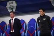 8 October 2020; Republic of Ireland coach Keith Andrews, right, and manager Stephen Kenny during the UEFA EURO2020 Qualifying Play-Off Semi-Final match between Slovakia and Republic of Ireland at Tehelné pole in Bratislava, Slovakia. Photo by Stephen McCarthy/Sportsfile