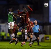 9 October 2020; Andre Wright of Bohemians in action against Joseph Olowu of Cork City during the SSE Airtricity League Premier Division match between Bohemians and Cork City at Dalymount Park in Dublin. Photo by Matt Browne/Sportsfile