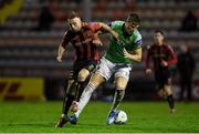 9 October 2020; Jake O'Brien of Cork City in action against Keith Ward of Bohemians during the SSE Airtricity League Premier Division match between Bohemians and Cork City at Dalymount Park in Dublin. Photo by Matt Browne/Sportsfile