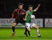 9 October 2020; Cian Bargary of Cork City in action against Andy Lyons of Bohemians during the SSE Airtricity League Premier Division match between Bohemians and Cork City at Dalymount Park in Dublin. Photo by Matt Browne/Sportsfile