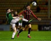 9 October 2020; Andy Lyons of Bohemians in action against Cian Bargary of Cork City during the SSE Airtricity League Premier Division match between Bohemians and Cork City at Dalymount Park in Dublin. Photo by Matt Browne/Sportsfile