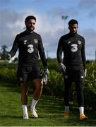 10 October 2020; Derrick Williams, left, and Cyrus Christie during a Republic of Ireland training session at the FAI National Training Centre in Abbotstown, Dublin. Photo by Stephen McCarthy/Sportsfile