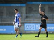 27 September 2020; Referee Séamus Farrelly shows the yellow card to Michael Darragh Macauley of Ballyboden St Enda's during the Dublin County Senior 1 Football Championship Final match between Ballyboden St Enda's and Ballymun Kickhams at Parnell Park in Dublin. Photo by Piaras Ó Mídheach/Sportsfile