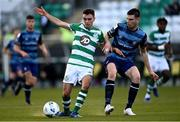 10 October 2020; Dean Williams of Shamrock Rovers II in action against Killian Cantwell of Bray Wanderers during the SSE Airtricity League First Division match between Shamrock Rovers II and Bray Wanderers at Tallaght Stadium in Dublin. Photo by Harry Murphy/Sportsfile