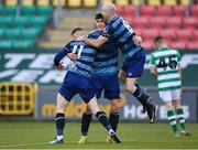 10 October 2020; Derek Daly of Bray Wanderers, 11, celebrates with Luka Lovic and Paul Keegan of Bray Wanderers after scoring his side's second goal during the SSE Airtricity League First Division match between Shamrock Rovers II and Bray Wanderers at Tallaght Stadium in Dublin. Photo by Harry Murphy/Sportsfile