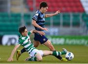 10 October 2020; Luka Lovic of Bray Wanderers is tackled by Dean McMenamy of Shamrock Rovers II during the SSE Airtricity League First Division match between Shamrock Rovers II and Bray Wanderers at Tallaght Stadium in Dublin. Photo by Harry Murphy/Sportsfile