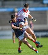 27 September 2020; Conor Mullally of Cuala is tackled by Kevin Callaghan of St Brigid's during the Dublin County Senior 2 Football Championship Final match between Cuala and St Brigid's at Parnell Park in Dublin. Photo by Piaras Ó Mídheach/Sportsfile