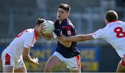 27 September 2020; Conor Mullally of Cuala is tackled by Sean Egan of St Brigid's during the Dublin County Senior 2 Football Championship Final match between Cuala and St Brigid's at Parnell Park in Dublin. Photo by Piaras Ó Mídheach/Sportsfile
