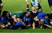 10 October 2020; James Ryan, left, and Ed Byrne of Leinster celebrate after team-mate James Tracy scored their side's first try during the Guinness PRO14 match between Benetton and Leinster at Stadio Monigo in Treviso, Italy. Photo by Daniele Resini/Sportsfile