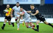 10 October 2020; John Cooney of Ulster gets the ball away under pressure from Olly Cracknell of Ospreys during the Guinness PRO14 match between Ospreys and Ulster at Liberty Stadium in Swansea, Wales. Photo by Ben Evans/Sportsfile
