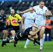 10 October 2020; Jacob Stockdale of Ulster is tackled by Mat Protheroe of Ospreys during the Guinness PRO14 match between Ospreys and Ulster at Liberty Stadium in Swansea, Wales. Photo by Ben Evans/Sportsfile
