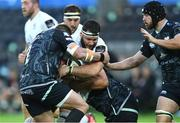 10 October 2020; Marcell Coetzee of Ulster is tackled by Sam Parry and Tom Botha of Ospreys during the Guinness PRO14 match between Ospreys and Ulster at Liberty Stadium in Swansea, Wales. Photo by Ben Evans/Sportsfile