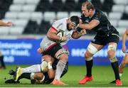 10 October 2020; Marcell Coetzee of Ulster is tackled by Dan Lydiate and Alun Wyn Jones, right, of Ospreys during the Guinness PRO14 match between Ospreys and Ulster at Liberty Stadium in Swansea, Wales. Photo by Chris Fairweather/Sportsfile