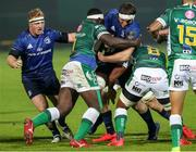 10 October 2020; Ryan Baird of Leinster is tackled by Cherif Traore and Toa Halafihi of Benetton during the Guinness PRO14 match between Benetton and Leinster at Stadio Monigo in Treviso, Italy. Photo by Daniele Resini/Sportsfile
