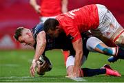10 October 2020; Duhan van der Merwe of Edinburgh is tackled by Tommy O'Donnell of Munster during the Guinness PRO14 match between Munster and Edinburgh at Thomond Park in Limerick. Photo by Ramsey Cardy/Sportsfile