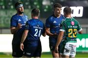 10 October 2020; Leinster captain Garry Ringrose with Callum Braley of Benetton after the Guinness PRO14 match between Benetton and Leinster at Stadio Monigo in Treviso, Italy. Photo by Daniele Resini/Sportsfile