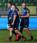 10 October 2020; Leinster players, from left, Jack Conan, Ed Byrne and Rhys Ruddock leave the pitch after the Guinness PRO14 match between Benetton and Leinster at Stadio Monigo in Treviso, Italy. Photo by Daniele Resini/Sportsfile