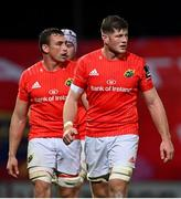 10 October 2020; Jack O'Donoghue, right, and Tommy O'Donnell of Munster during the Guinness PRO14 match between Munster and Edinburgh at Thomond Park in Limerick. Photo by Ramsey Cardy/Sportsfile