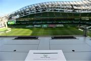 11 October 2020; A tribute to the late Michael Hayes of the FAI's Competitions Department in the Media Tribune prior to the UEFA Nations League B match between Republic of Ireland and Wales at the Aviva Stadium in Dublin. Photo by Eóin Noonan/Sportsfile