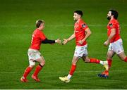 10 October 2020; Craig Casey, left, is substituted for Munster team-mate Conor Murray during the Guinness PRO14 match between Munster and Edinburgh at Thomond Park in Limerick. Photo by Ramsey Cardy/Sportsfile