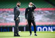 11 October 2020; Republic of Ireland manager Stephen Kenny, left, and Republic of Ireland coach Keith Andrews ahead of the UEFA Nations League B match between Republic of Ireland and Wales at the Aviva Stadium in Dublin. Photo by Stephen McCarthy/Sportsfile