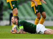 11 October 2020; Shane Duffy of Republic of Ireland reacts during the UEFA Nations League B match between Republic of Ireland and Wales at the Aviva Stadium in Dublin. Photo by Seb Daly/Sportsfile