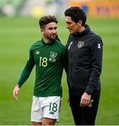 11 October 2020; Sean Maguire of Republic of Ireland and Republic of Ireland coach Keith Andrews following the UEFA Nations League B match between Republic of Ireland and Wales at the Aviva Stadium in Dublin. Photo by Stephen McCarthy/Sportsfile