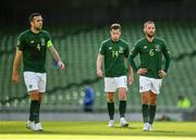 11 October 2020; Republic of Ireland players, from left, Shane Duffy, Kevin Long and Conor Hourihane during the UEFA Nations League B match between Republic of Ireland and Wales at the Aviva Stadium in Dublin. Photo by Seb Daly/Sportsfile