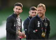 11 October 2020; Republic of Ireland players, from left, Sean Maguire, Jack Byrne and Daryl Horgan prior to the UEFA Nations League B match between Republic of Ireland and Wales at the Aviva Stadium in Dublin. Photo by Stephen McCarthy/Sportsfile