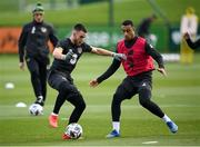 12 October 2020; Aaron Connolly is tackled by Adam Idah during a Republic of Ireland training session at the FAI National Training Centre in Abbotstown, Dublin. Photo by Stephen McCarthy/Sportsfile