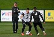12 October 2020; Republic of Ireland manager Stephen Kenny watches on as Aaron Connolly takes on Jason Knight during a Republic of Ireland training session at the FAI National Training Centre in Abbotstown, Dublin. Photo by Stephen McCarthy/Sportsfile