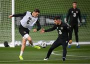 12 October 2020; Ronan Curtis, left, and Ryan Manning during a Republic of Ireland training session at the FAI National Training Centre in Abbotstown, Dublin. Photo by Stephen McCarthy/Sportsfile