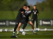 12 October 2020; Adam Idah, left, and Dara O'Shea during a Republic of Ireland training session at the FAI National Training Centre in Abbotstown, Dublin. Photo by Stephen McCarthy/Sportsfile