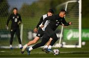 12 October 2020; Adam Idah, right, and Dara O'Shea during a Republic of Ireland training session at the FAI National Training Centre in Abbotstown, Dublin. Photo by Stephen McCarthy/Sportsfile
