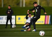 12 October 2020; Ryan Manning, right, is tackled by Josh Cullen during a Republic of Ireland training session at the FAI National Training Centre in Abbotstown, Dublin. Photo by Stephen McCarthy/Sportsfile
