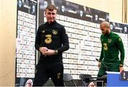 13 October 2020; Republic of Ireland manager Stephen Kenny and Darren Randolph following a Republic of Ireland press conference at Helsingin Olympiastadion in Helsinki, Finland. Photo by Jussi Eskola/Sportsfile