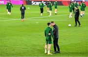 13 October 2020; Republic of Ireland manager Stephen Kenny, right, in conversation with Sean Maguire during a Republic of Ireland Training Session at Helsingin Olympiastadion in Helsinki, Finland. Photo by Jussi Eskola/Sportsfile