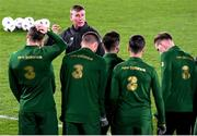 13 October 2020; Republic of Ireland manager Stephen Kenny talks to his players during a Republic of Ireland Training Session at Helsingin Olympiastadion in Helsinki, Finland. Photo by Jussi Eskola/Sportsfile