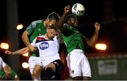 13 October 2020; Joseph Olowu, right, and Alan Bennett of Cork City in action against Andy Boyle of Dundalk during the SSE Airtricity League Premier Division match between Cork City and Dundalk at Turners Cross in Cork. Photo by Matt Browne/Sportsfile