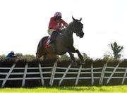 14 October 2020; Red Gerry, with Sean Flanagan up, jumps the last on their way to winning the K Club Handicap Hurdle at Punchestown Racecourse in Kildare. Photo by Seb Daly/Sportsfile