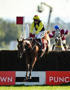 14 October 2020; The Storyteller, with Keith Donoghue up, jumps the last on their way to winning the Irish Daily Star Salutes Our Frontline Heroes Steeplechase at Punchestown Racecourse in Kildare. Photo by Seb Daly/Sportsfile