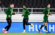 14 October 2020; Cyrus Christie of Republic of Ireland warms-up ahead of the UEFA Nations League B match between Finland and Republic of Ireland at Helsingin Olympiastadion in Helsinki, Finland. Photo by Jussi Eskola/Sportsfile