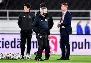 14 October 2020; Republic of Ireland manager Stephen Kenny, right, and coach Keith Andrews ahead of the UEFA Nations League B match between Finland and Republic of Ireland at Helsingin Olympiastadion in Helsinki, Finland. Photo by Jussi Eskola/Sportsfile