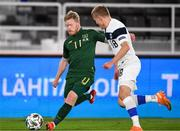 14 October 2020; Daryl Horgan of Republic of Ireland in action against Jere Uronen of Finland during the UEFA Nations League B match between Finland and Republic of Ireland at Helsingin Olympiastadion in Helsinki, Finland. Photo by Jussi Eskola/Sportsfile