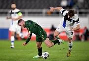 14 October 2020; Aaron Connolly of Republic of Ireland in action against Paulus Arajuuri of Finland during the UEFA Nations League B match between Finland and Republic of Ireland at Helsingin Olympiastadion in Helsinki, Finland. Photo by Jussi Eskola/Sportsfile