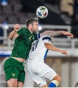 14 October 2020; Teemu Pukki of Finland in action against Shane Duffy of Republic of Ireland during the UEFA Nations League B match between Finland and Republic of Ireland at Helsingin Olympiastadion in Helsinki, Finland. Photo by Mauri Forsblom/Sportsfile