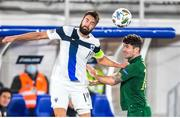 14 October 2020; Tim Sparv of Finland in action against Robbie Brady of Republic of Ireland during the UEFA Nations League B match between Finland and Republic of Ireland at Helsingin Olympiastadion in Helsinki, Finland. Photo by Mauri Forsblom/Sportsfile